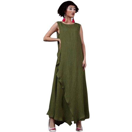 ZANZEA Women Sleeveless Retro Loose Casual Kaftan Long Maxi Dress ...