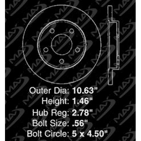 Max Brakes Rear Elite Brake Kit [ E-Coated Slotted Drilled Rotors + Ceramic Pads ] KT076782 | Fits: 2004 04 Pontiac Grand Prix Include GT/GTP Models - image 7 de 8