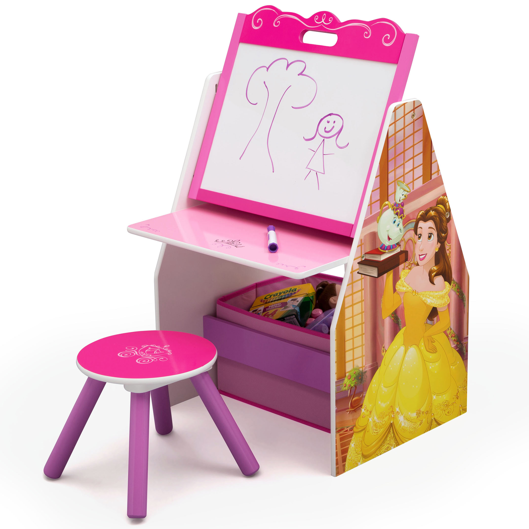 Disney Princess Activity Center - Easel Desk with Stool & Toy Organizer