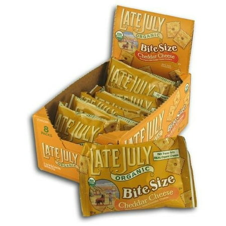 Late July Organic Crackers, Bite Size Cheddar Cheese, 1.125 Oz, 8 Ct