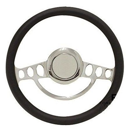 Chrome & Black Steering Wheel w/Full Install Kit for 1969 to1973 Chevelle