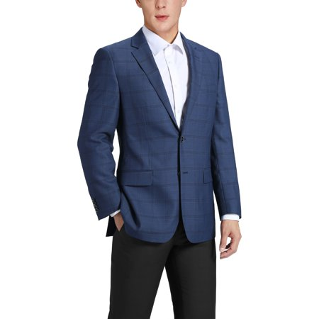 Men's Classic Fit Blue Windowpane Blazer Wool-Blend Sports Jacket Classic Wool Blazer