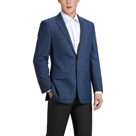 Men's Classic Fit Blue Windowpane Blazer Wool-Blend Sports Jacket Blue Plaid Blazer