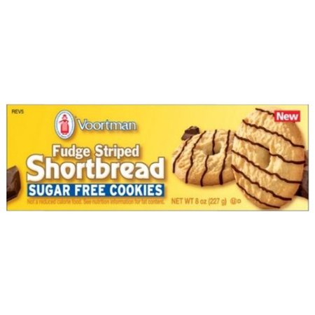 Voortman Sugar-Free Fudge Striped Shortbread Cookies, 8 Oz.