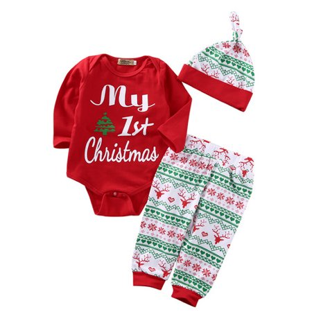 New Outfit 2019 (2019 Newborn Baby Girls My First Christmas Clothes Romper +Pants Hat Outfits Set 3Pcs Hot New Size)