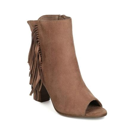 - Women Faux Suede Peep Toe Falling Fringe Chunky Heel Bootie GC51