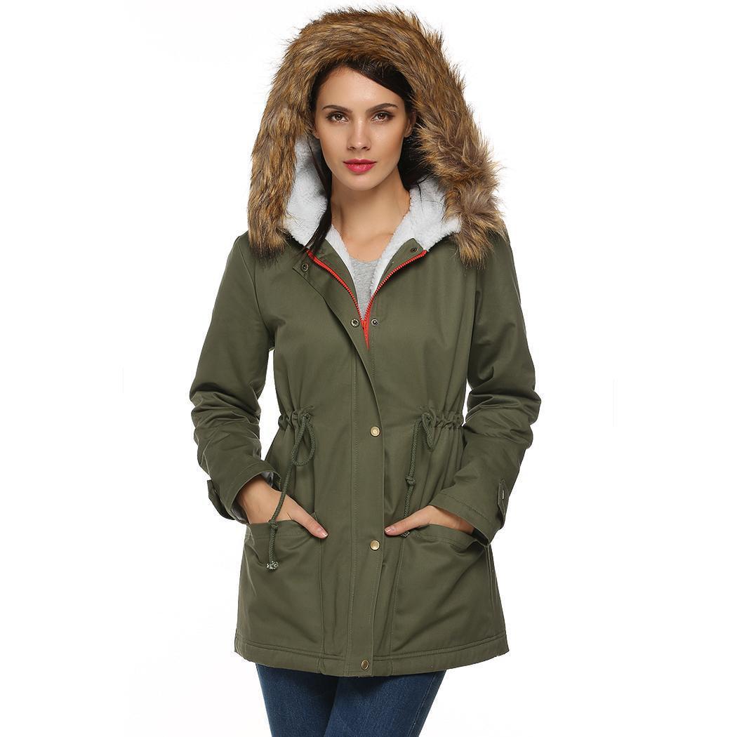 Womens Winter Warm Hooded Faux Fur Lined Parka Jacket Drawstring Long Coats by