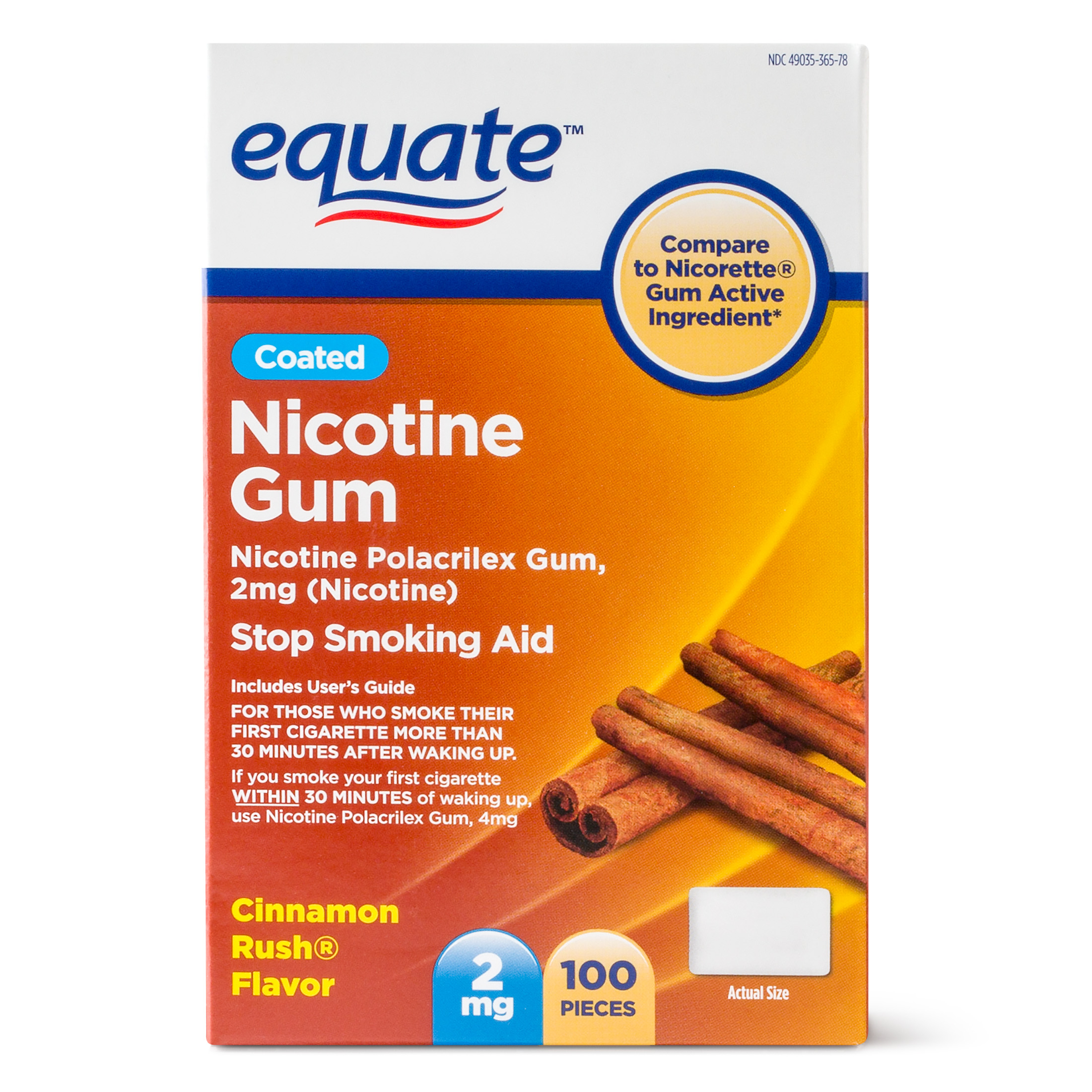 Equate Coated Nicotine Gum Stop Smoking Aid Cinnamon Rush Flavor, 2 mg, 100 Ct