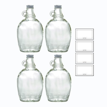 (12 oz Clear Glass Bottle with Airtight White Metal Lid (4 PACK) for Syrup, Honey, Sauces, Marinara's, Oils + Labels)