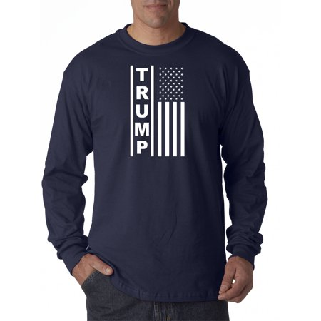 Image of Trendy USA 1241 - Unisex Long-Sleeve T-Shirt Trump Flag Vertical USA America 2XL Navy