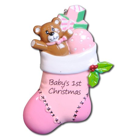 Pink Baby Stocking  Personalized Christmas Ornament DO-IT-YOURSELF](Christmas Art For Toddlers)