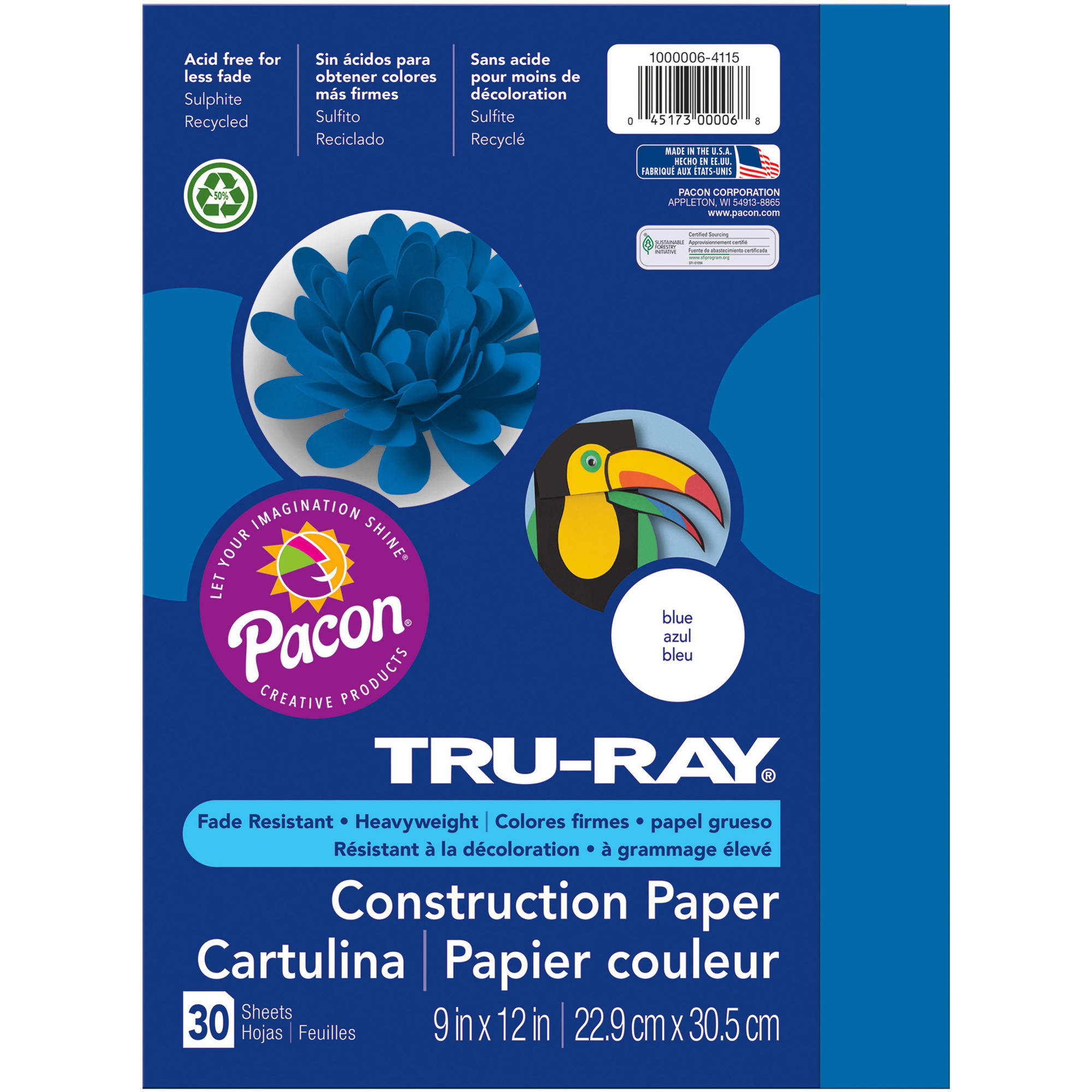 """Tru-Ray Construction Paper, 10 Assorted Colors, 9"""" x 12"""", 50 Sheets"""