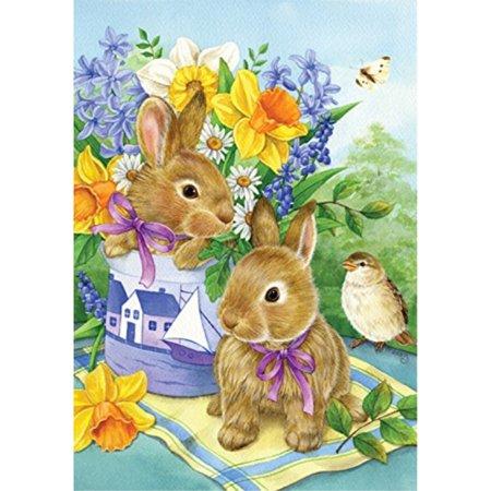 toland home garden bunny bouquet 12.5 x 18 inch decorative spring easter daffodil flower garden (Easter Decorative Flag)