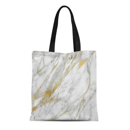 LADDKE Canvas Tote Bag Stone Gold White Gray Glam Carrara Vip Reusable Handbag Shoulder Grocery Shopping Bags