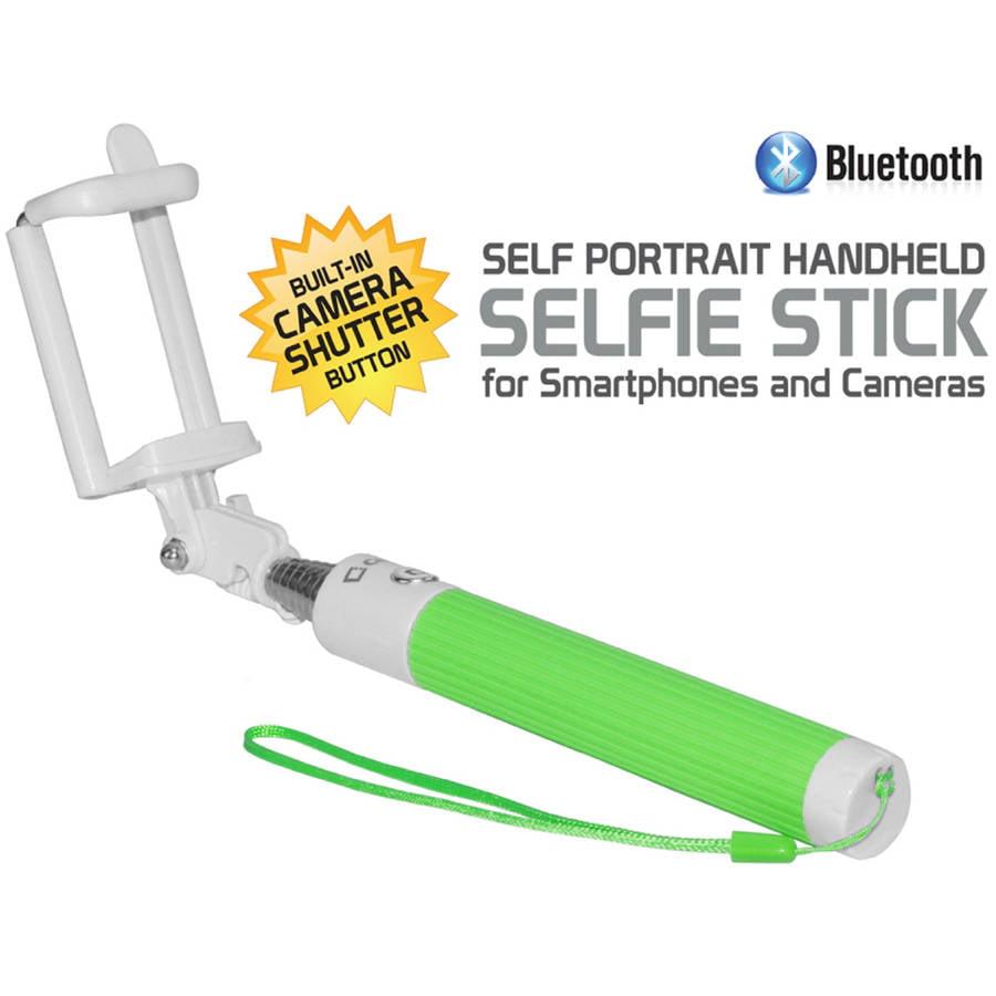 Cellet Self-Portrait Handheld Bluetooth Selfie Stick for Smartphones, Green