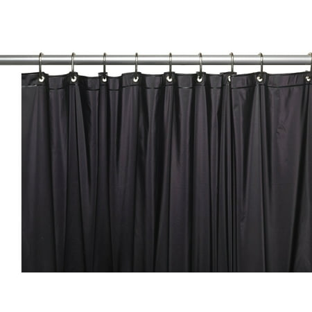 black 3 gauge vinyl shower curtain liner with weighted. Black Bedroom Furniture Sets. Home Design Ideas