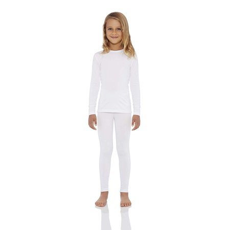 - Rocky Girl's Smooth Knit Thermal Underwear 2PC Set Long John Top and Bottom Pajamas (XS, White)