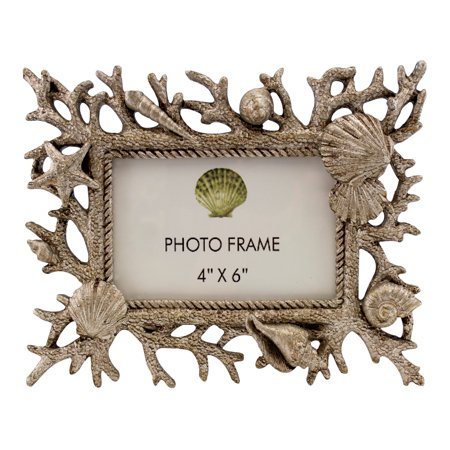 Silvertone Coral Seashells Starfish Coastal 4 X 6 Picture Photo Frame Tabletop ()