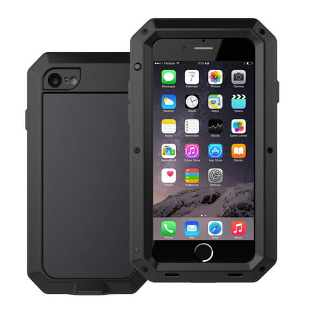 - Waterproof Shockproof Aluminum Glass Metal Protect Case Cover for Apple iPhone 6 Plus / 6s Plus-Black
