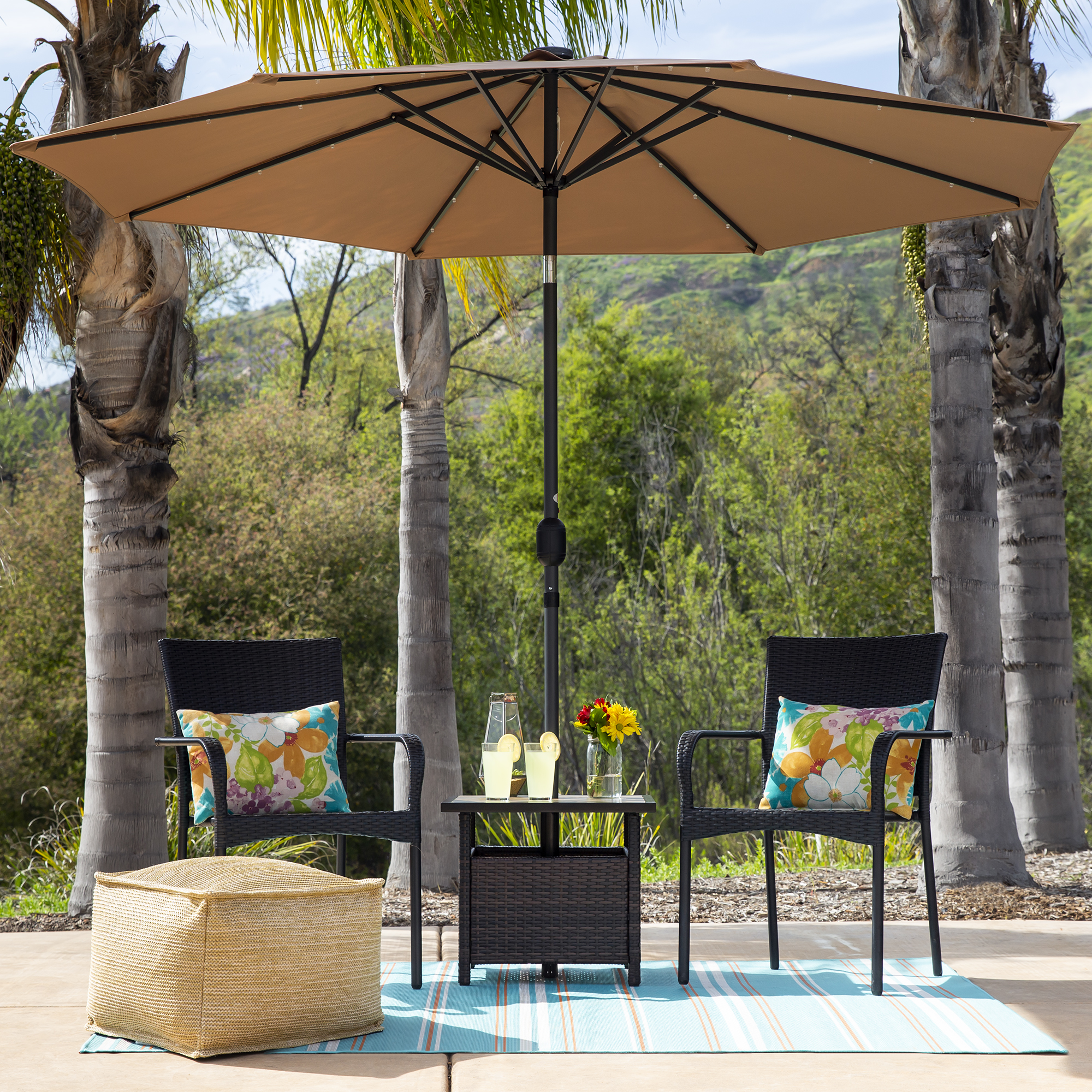 Best Choice Products Wicker Patio Umbrella Stand Table With Umbrella