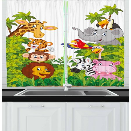 Animal Curtain Set (Nursery Curtains 2 Panels Set, Cartoon Style Zoo Animals Safari Jungle Mascots Collection Tropical Forest Wildlife, Window Drapes for Living Room Bedroom, 55W X 39L Inches, Multicolor, by Ambesonne )