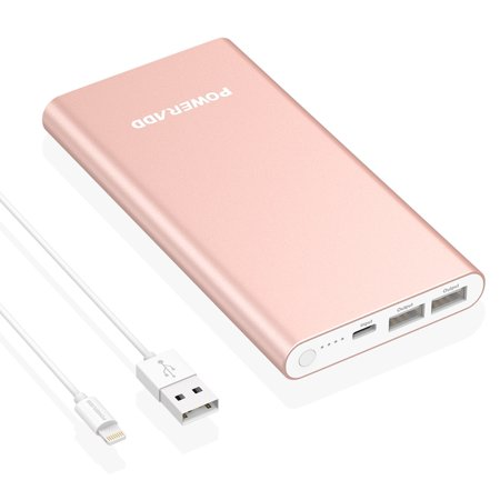 Poweradd Pilot 4GS 12000mAh Power Bank Portable Charger 3A Dual External Battery Pack with Lightning 8-Pin Cable 3.3ft / 1M
