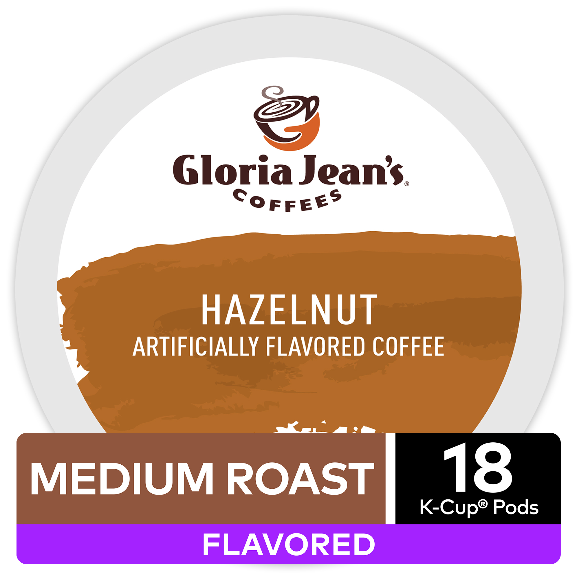 Gloria Jean's Coffee Hazelnut, Flavored Keurig K-Cup Pod, Medium Roast, 18 Ct