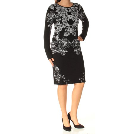 INC Womens Black Printed Long Sleeve Crew Neck Knee Length Sheath Dress  Size: (Long Sheath)