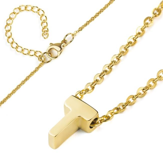 Elya WCJ-N9500-T 18 in. 18K Polished Initial Gold Overlay Pendant Necklace - Letter T
