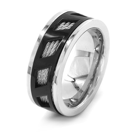 - Stainless Steel Black Cover Quad Cable Inlay Ring (9mm)