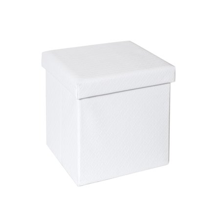 Seville Classics Faux Leather Quilted Foldable Storage Ottoman, White ()