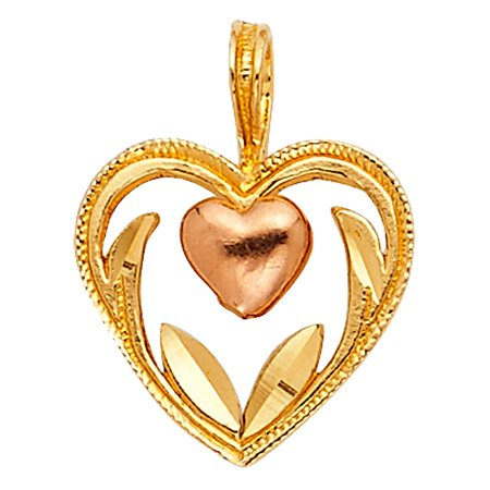 Real Italian 14k Solid Two Colored Tone Gold 10mm Solid Double Heart Charm Medal Pendant NO Chain Necklace