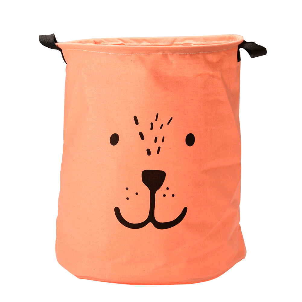 Cotton Foldable Cartoon Expressions Laundry Basket for Dirty Clothes Storage Container Red