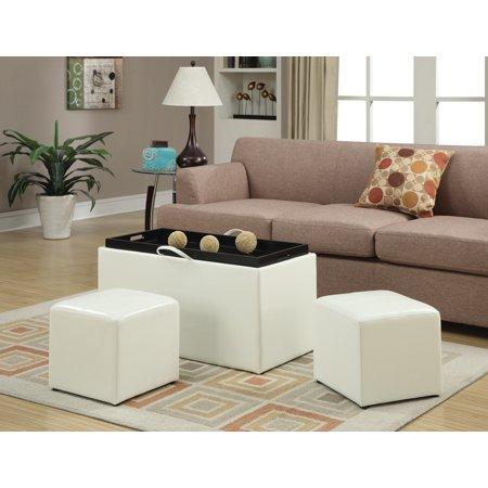Excellent Convenience Concepts Designs4Comfort Sheridan Storage Bench W 2 Side Ottomans Spiritservingveterans Wood Chair Design Ideas Spiritservingveteransorg