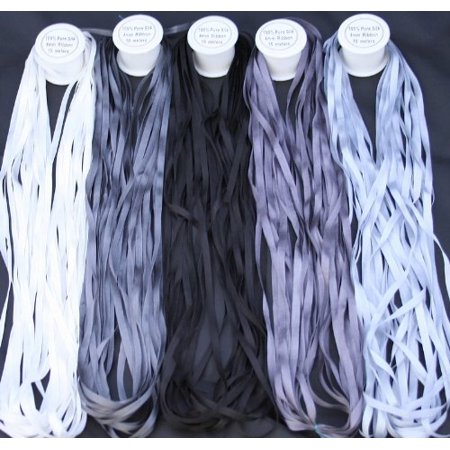 New ThreadNanny 5 Spools of 100% Pure Silk Ribbons - GREY Tones - 50 mts x 4mm (100% Silk Ribbon)