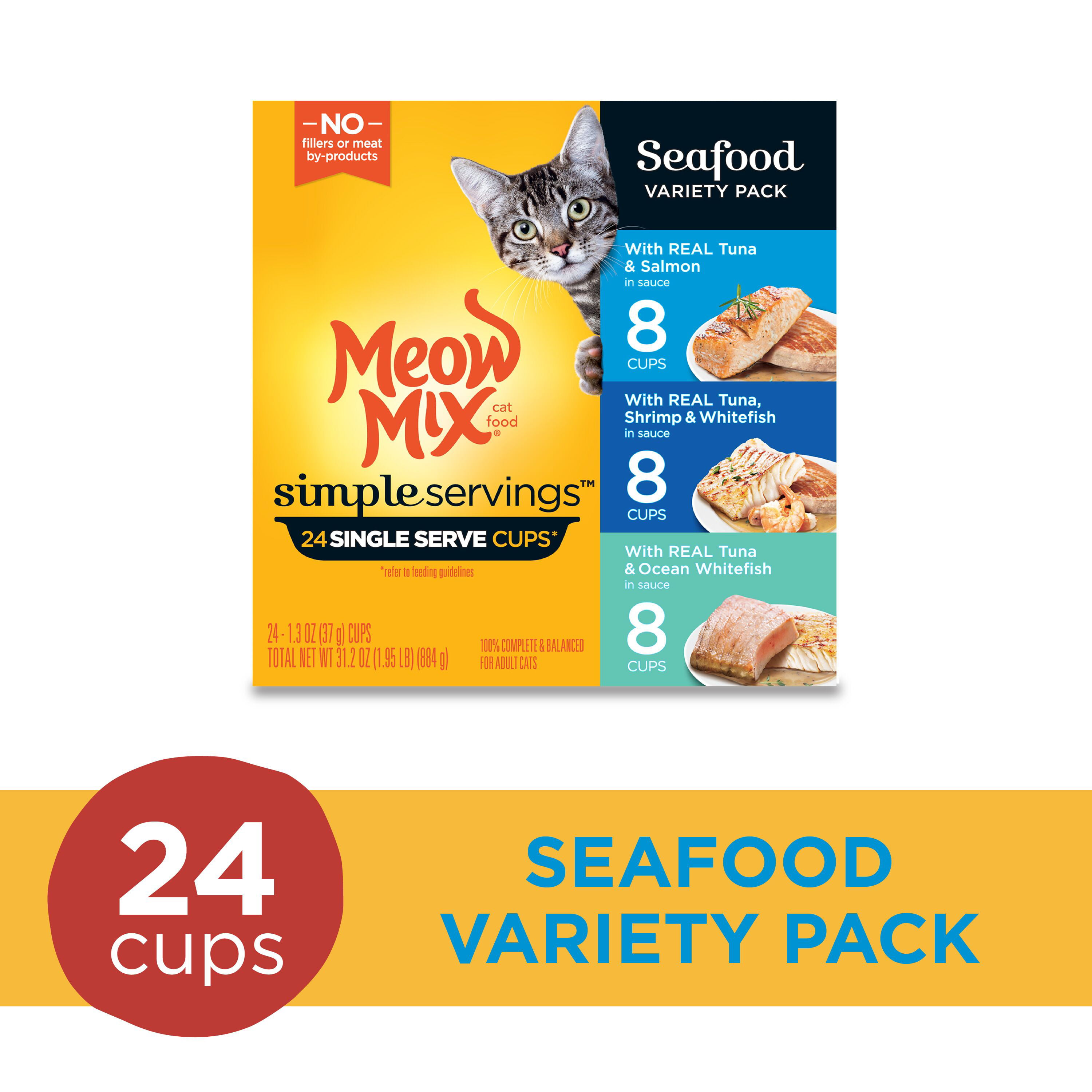 Meow Mix Simple Servings Seafood Variety Pack Wet Cat Food ...