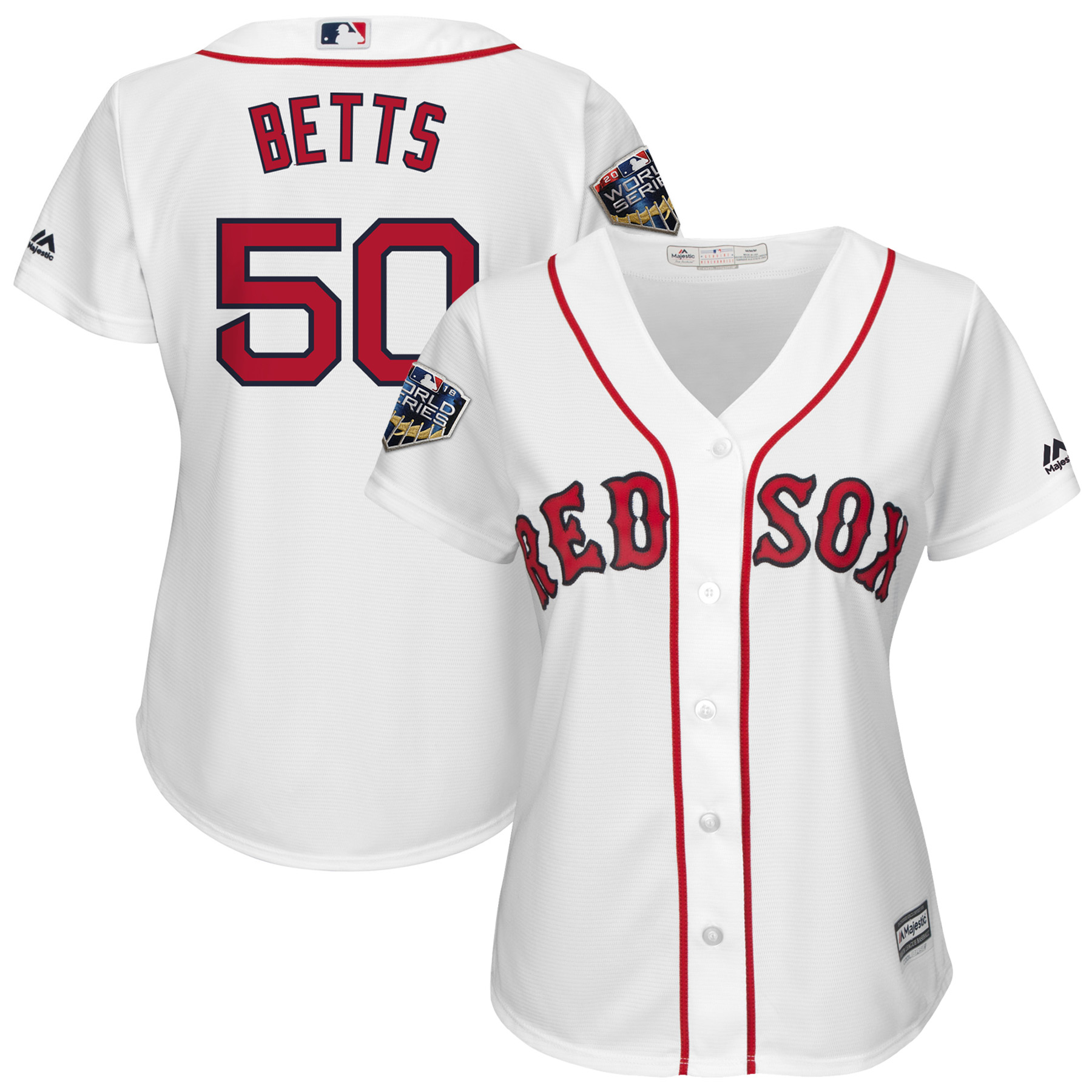 Mookie Betts Boston Red Sox Majestic Women's 2018 World Series Cool Base Player Jersey - White