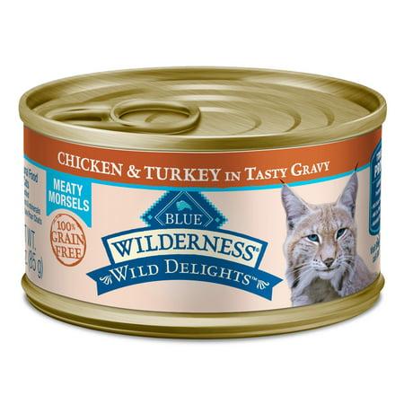 (24 Pack) Blue Buffalo Wilderness Wild Delights Chicken & Turkey Grain Free Wet Cat Food, 3 oz. Cans