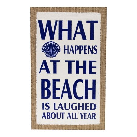 What Happens At The Beach Is Laughed About Burlap Printed Wood Wall -