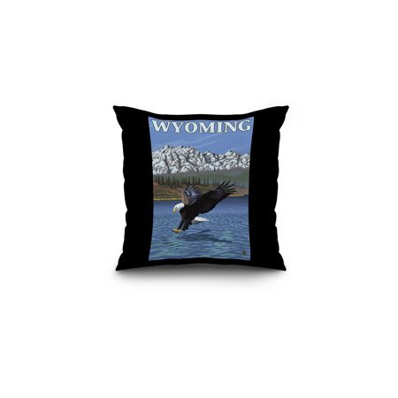 Bald Eagle Diving - Wyoming - LP Original Poster (16x16 Spun Polyester Pillow, Black Border)