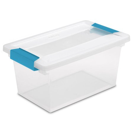Small Storage Boxes With Lids (New Sterilite 19628604 Medium Clip Box Clear Storage Tote Container with)