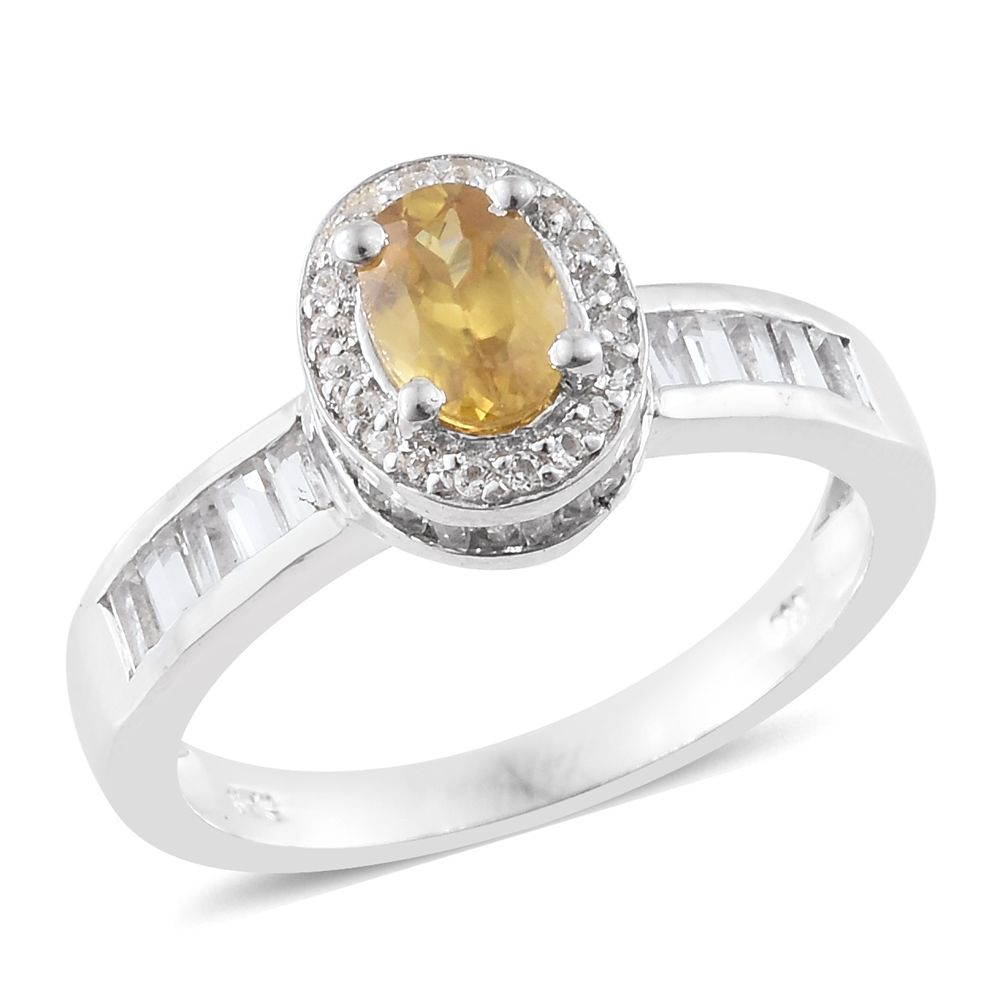Sphene White Topaz Platinum Plated 925 Sterling Silver Ring 2.37 cttw. Size 8 by Shop LC