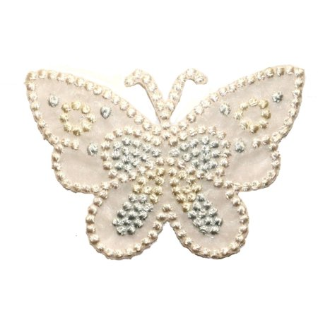 ID 2216 Lace Studded Butterfly Patch Fairy Garden Embroidered Iron On Applique