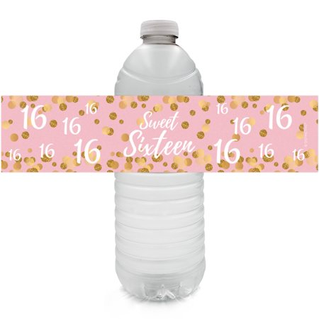 Sweet 16 Party Water Bottle Labels, 24ct - Pink and Gold Sweet Sixteen 16th Birthday Party Decoration Supplies - 24 Count Stickers - Sweet 16 Decoration Ideas