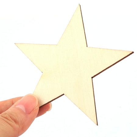 étoile en bois d'arbre en forme bricolage artisanat No l ornements accessoires Beige 20pcs - image 1 de 5