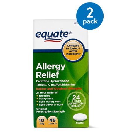 (2 Pack) Equate Allergy Relief Cetirizine Antihistamine Tablets, 10 mg, 45