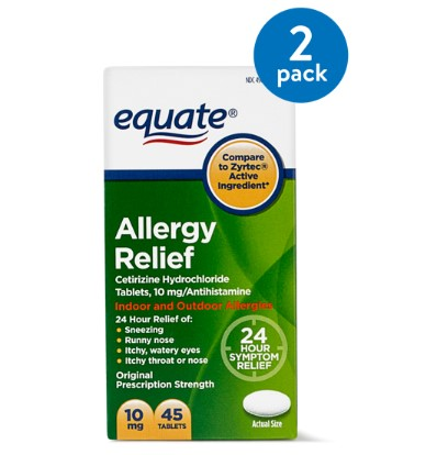 (2 Pack) Equate Allergy Relief Cetirizine Antihistamine Tablets, 10 mg, 45 Ct