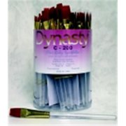 Dynasty C-200 Fine Ruby Synthetic Short Acrylic Handle Paint Brush Assortment, Clear, Pack - 72