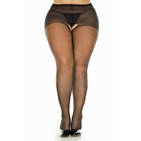 Plus Size Support Pantyhose - Lacy Line Plus Size Sheer Crotchless Pantyhose