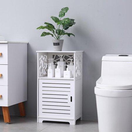Zimtown White Storage Floor Cabinet Wall Shutter Door Bathroom Organizer Cupboard Shelf